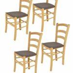 Tommychairs 4er Set Stühle Venice robuste Struktur aus lackiertem Buchenholz im Farbton Naturfarben und Sitzfläche mit Stoff in der Farbe Rehbraun bezogen. Set bestehend aus 4 Stühlen Venice
