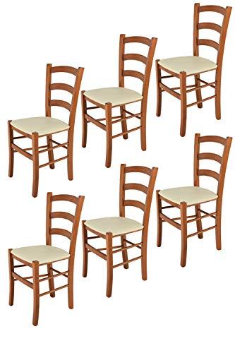 Tommychairs 6er Set Stühle Venice robuste Struktur aus lackiertem Buchenholz im Farbton Kirschbaum und Sitzfläche mit Kunstleder in der Farbe Elfenbein bezogen. Set bestehend aus 6 Stühlen Venice