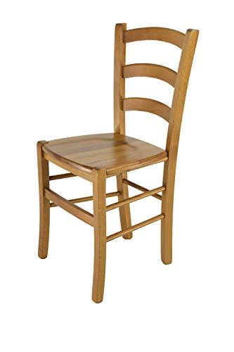 Tommychairs Esszimmerstuhl Venice für Küche und Esszimmer mit robustem Gestell aus massivem Buchenholz lackiert kirschfarben und Sitzfläche aus Massivholz