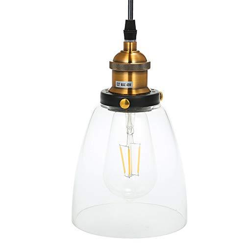 Tomshine Glas Pendelleuchte, Vintage LED Hängeleuchte Industrial, E26/E27 Leuchtmittel wählbar, für Küche Esszimmer Wohnzimmer (Birne nicht erhaltend)