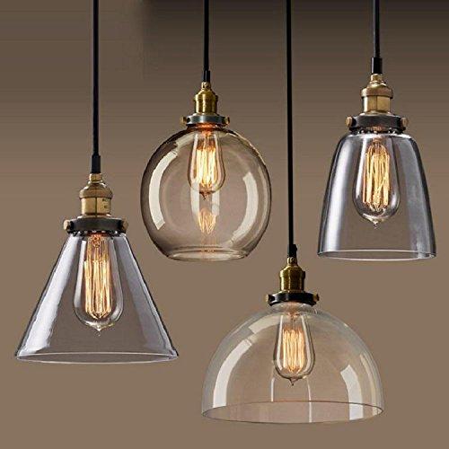 UPCHEN Vintage Bernstein Glas Glocke Schatten Retro Industrial Edison hängen Anhänger Deckenleuchte Loft Bar Küche Insel Kronleuchter E27 (Metall)