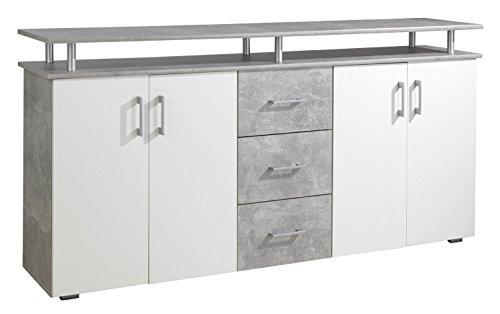44-334-H1 Lift Korpus Beton - Türen weiß Kommode Sideboard Beistellkommode Lift ca. 180 cm breit